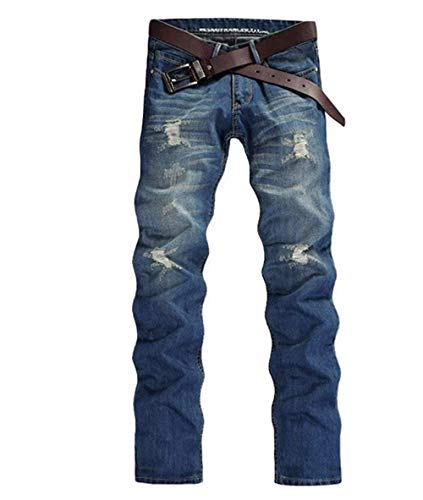 Uomo Pantaloni Dritta Slim Denim Strappati E Fit Da Jeans Distrutti Con Abbigliamento Gamba Lichtblau Lavati qHx5nTFEO