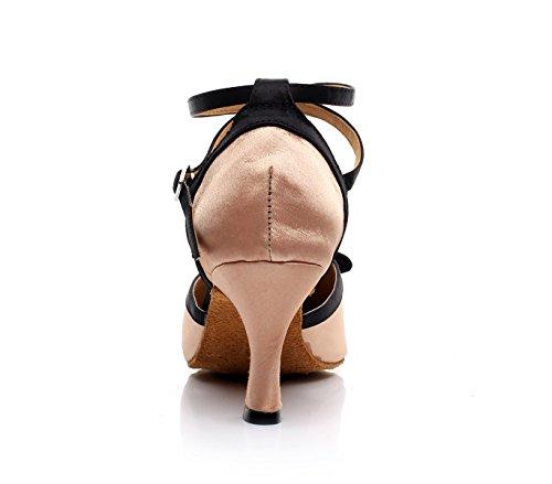JSHOE Womens Latin Dance Fermé Orteil Talon Haut Salsa / Tango / Chacha / Samba / Moderne / Jazz Chaussures,Beige-heeled7.5cm-UK6.5/EU40/Our41