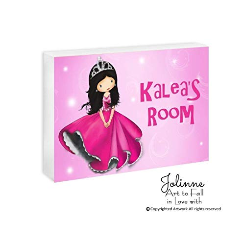 Personalized Girls Room Door Sign Name Princess Plaque Baby Nursery Custom Hair Skin Color 5