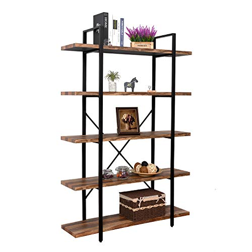 - IRONCK Bookshelf and Bookcase 5-Tier, 130lbs/shelf Load Capacity, Industrial Bookshelves Home Office Furniture, Wood and Metal Frame
