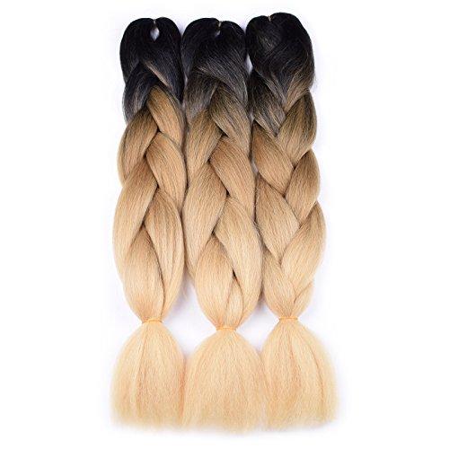 Jumbo Braiding Hair (Black/Light Brown/Beige) 3pcs Jumbo Braid Hair Extension Ombre Colors High Temperature Synthetic Fiber Soft Fluffy Healthy