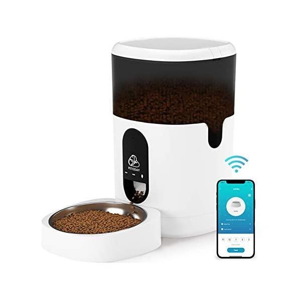 PETODAY Automatic Cat Feeder with APP Control, WiFi Enabled 4L Auto Pet Feeder with Stainless Steel Bowl, Timed Cat Food…