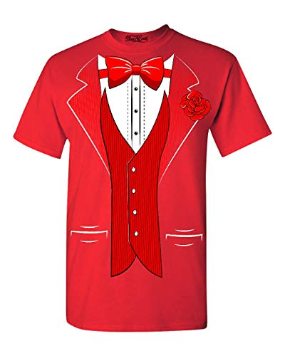 Shop4Ever Classic Tuxedo T-Shirt Party Costume Shirts Medium Red -
