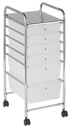 ECR4Kids 6-Drawer Mobile Organizer, White