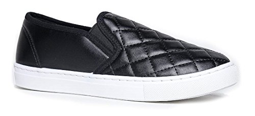 Womens Pumps Quilted - Women's Slip On Quilted Fashion Sneakers Slick Ligh Weight Comfort Casual Sport Athletic Shoes Black 6.5
