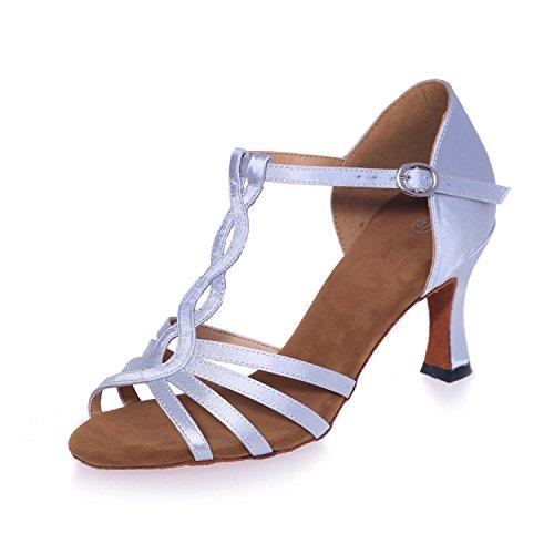 L@YC Zapatos Latinos De La Danza De Las Mujeres PU Con La Hebilla Interior De Los 7.5cm Nude / Yardas Grandes Multicoloras White