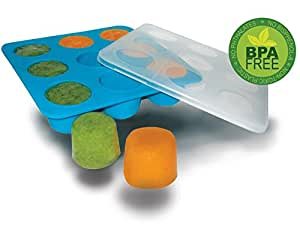 Homemade Baby Food Storage Solution, Silicone Freezer Tray with Lid. Makes 9 X 2 Oz Cubes. BPA Free, Non Toxic..