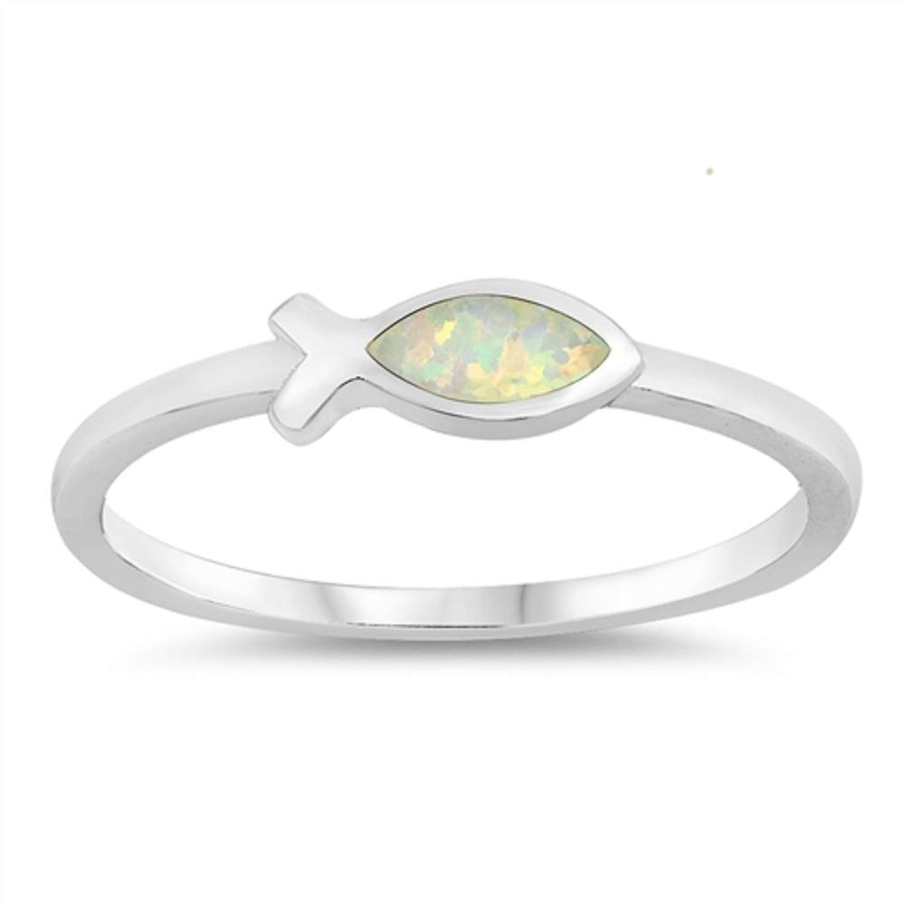 Princess Kylie Blue Simulated Opal Religious Fish Ring Sterling Silver