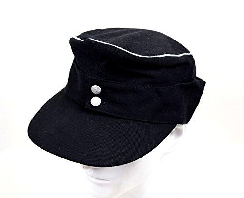 Replica WWII German Army Elite EM M43 Officer Summer Panzer Field Cotton Cap Hat Black (L(58cm))