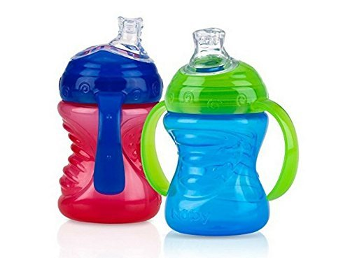 Nuby 2-Pack Two-Handle No-Spill Super Spout Grip N' Sip Cups, 8 Ounce (Red & Blue)