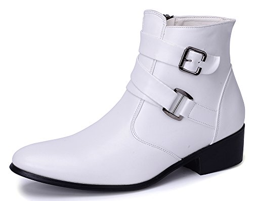Toe Pu Zipper Buckle Boots Pointed Suede Chelsea Leather Ankle Odema PU White Men's TwOqFfX