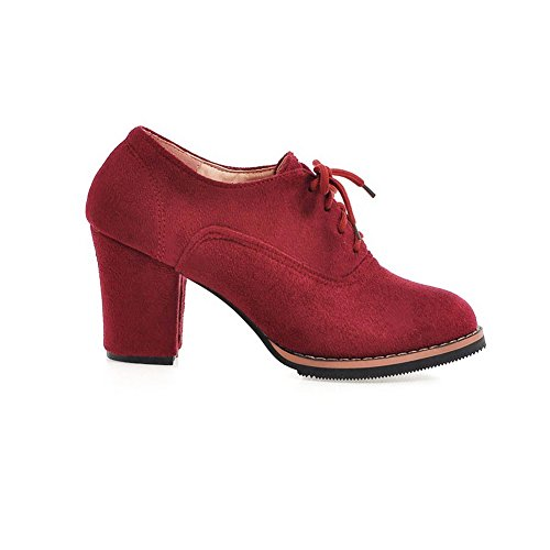 BalaMasa Womens Bandage Chunky Heels Solid Frosted Pumps-Shoes Red XDnhxKCd