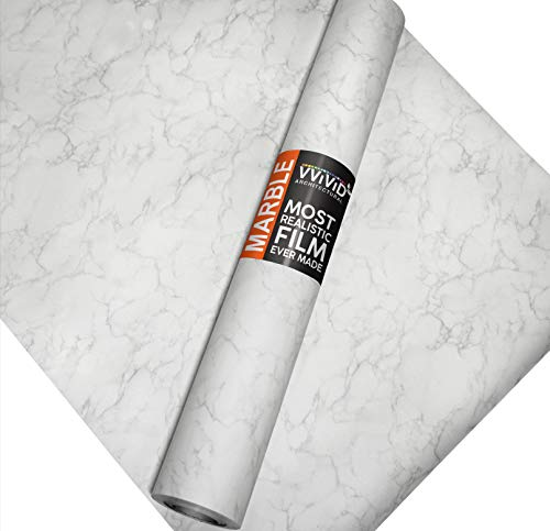 VViViD Matte Carrara White Marble Natural Texture Architectural Vinyl Sheet Film Roll (48