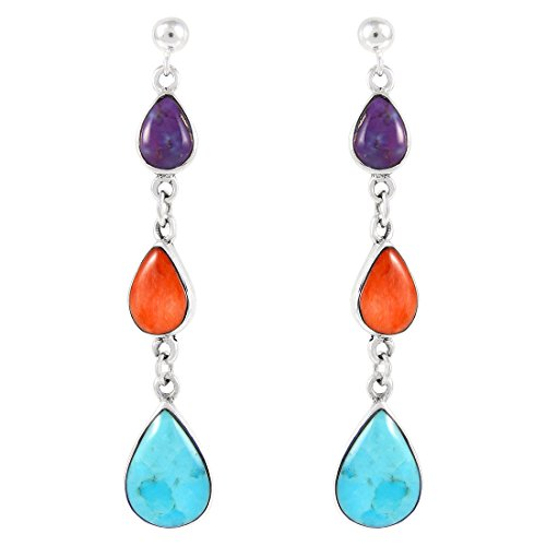 Turquoise & Gemstone Earrings Sterling Silver (SELECT from different styles) - Different Styles For Women