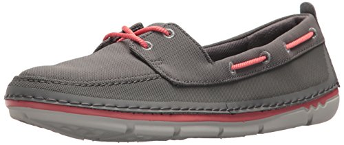Clarks Womens Step Maro Sand Boat Shoe, Dark Grey Textile, 5 Medium US