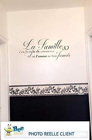 Noir - Fabrication France. Marque Beestick Taille 60x25 cm Sticker La Famille Cest l/à o/ù la Vie Commence