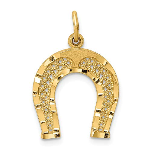 14K Yellow Gold Horseshoe Charm Pendant from Roy Rose Jewelry