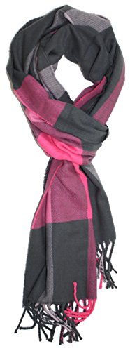 Ted and Jack - Ted's Classic Cashmere Feel Checkered or Plaid Scarf 2 (Pink and Grey Check)