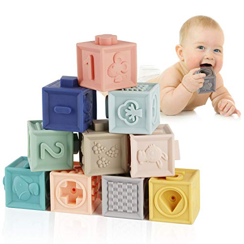 Mini Tudou Baby Blocks Soft Building Blocks Teething Chewing Toys Educational Squeeze Baby Toys Play with Numbers Animals Shapes Textures 6 Months and Up -