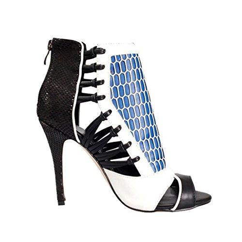 Botas Shiny Verano Fiesta Kaitzen Posterior Plataforma Moda De De De Tacón Alto Bomba Zapatos Cremallera Noche Sandalias Mujer Tobillo Corte Primavera De UXBHqwxP
