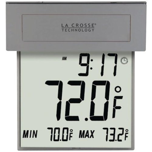 Digital Window Thermometer - La Crosse Technology 306-605 Solar Window Thermometer with Solar Powered Backlight