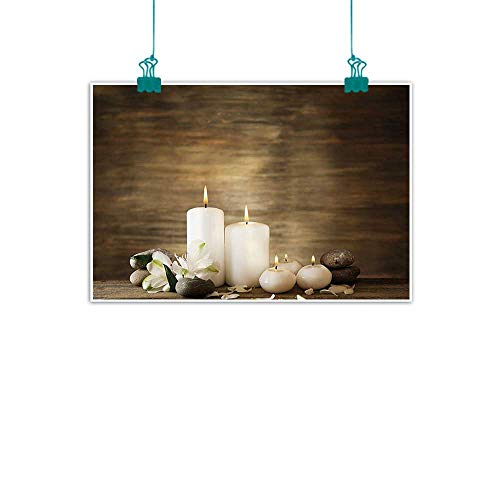 Geisha Flower Candle - Spa Decor Living Room Decorative Painting Composition of Pure Candles Wooden Background with Stones and Flower Petals Modern Minimalist Atmosphere 28