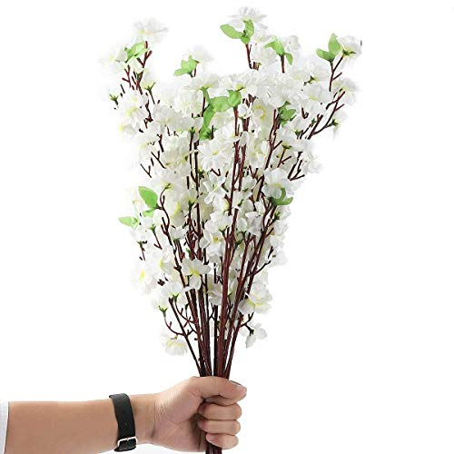 10Pcs Spring Peach Blossom Cherry Plum Bouquet Branch Silk Flower,Artificial Flowers Fake Flower for Wedding Home Office Party Hotel Yard Decoration -