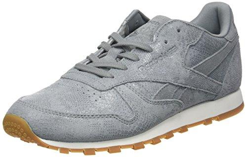 Reebok Women's Cl Lthr Clean Exotics Training Shoes, Azul Grey (Flint Grey/Chalk/Gum)