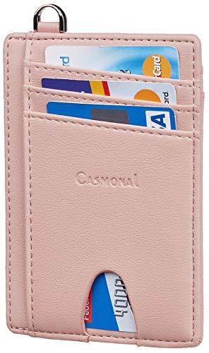 Casmonal Slim Minimalist Front Pocket Wallets RFID Blocking Credit Card Holder for Men & Women(Nappa Pink)