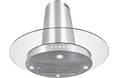 """FIREBIRD 30"""" Island Mount Stainless Steel Tempered Glass Touch Control Powerful Kitchen Vent Cooking Fan Range Hood"""