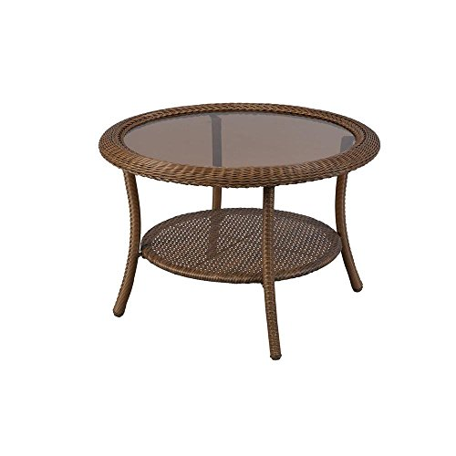 Hampton Bay Spring Haven 30 in. Brown All-Weather Wicker Round Outdoor Patio Coffee Table