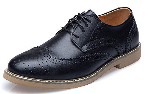 IDIFU Mens Vintage Round Toe Low Top Lace Up Brogues Flat Drive Oxfords Shoes Black goqz3yr