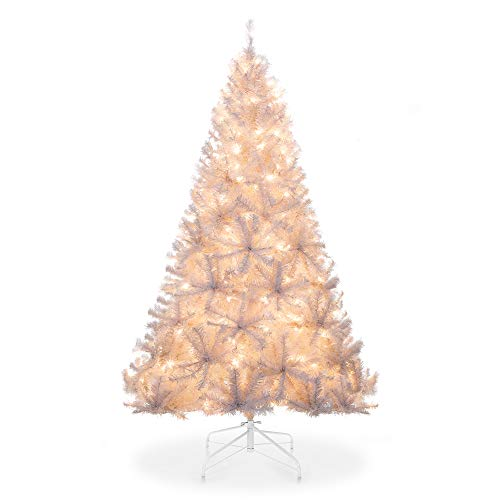 Best Choice Products 6ft Pre-Lit Premium Hinged Artificial Christmas Pine Tree w/ 250 Lights, Metal Stand, 1,000 Tips (Tree Pre Lit White Christmas)