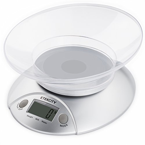 Etekcity 11lb 5kg Digital Multifunction Kitchen Food Bowl Scale, Volume Measurement Supported, Silver