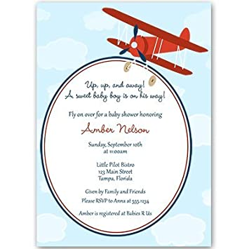 Lovely Airplane Baby Shower Invitations, Baby Boy, Blue, Red, Flying, Clouds,
