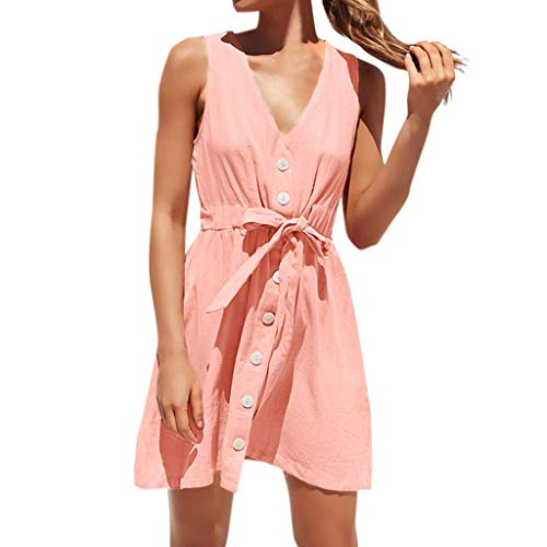 Sunhusing Women's Solid Color Sexy V-Neck Sleeveless Button-Down Drawstring Belted Strappy Mini Dress Pink