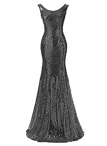 Drehouse Paillettes Des Femmes Sirène Robes De Demoiselle D'honneur Backless Robes Longues De Bal Noir