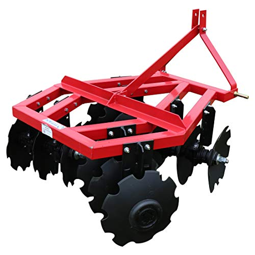Titan Distributors Inc. Category 1 3 Point Notched Disc Harrow Plow for Kubota New Holland Tractors | 4 - Point Disc 3 Harrow