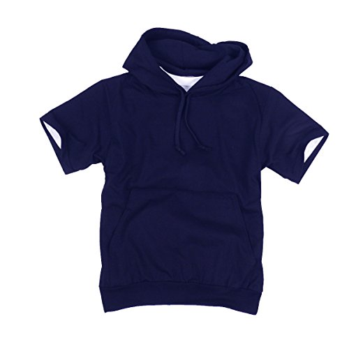 myglory77mall Mens Short Sleeve Basic Light Cotton 100% Hooded tshirt Top Tee Hoody Hoodie US S(L tag) Navy