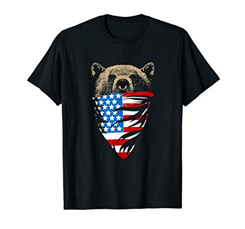California Republic Bear Bandana Patriotic Men's T-Shirt