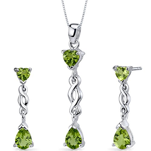(Peridot Pendant Earrings Necklace Sterling Silver Rhodium Nickel Finish Pear Heart Shape 3.25 Carats)