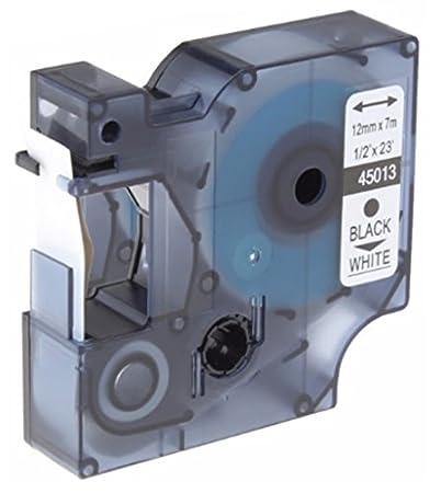 Prestige Cartridge Nastro per Etichette, Sostituisce 45013/S0720530, 12mm x 7m, 5 Pezzi, Nero su Bianco Five A45013