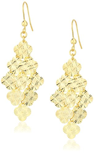 Earrings Diamond Cut Leaf - 14k Yellow Gold Italian Multi-Four Leaf Clover Diamond Cut Dangle Earrings