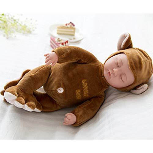 Zehui Reborn Baby Doll Lovely Simulated Sleeping Doll Kids Toy Birthday Gift Closed Eye 257 Monkey Brown 25cm (Eyes Monkey Big)