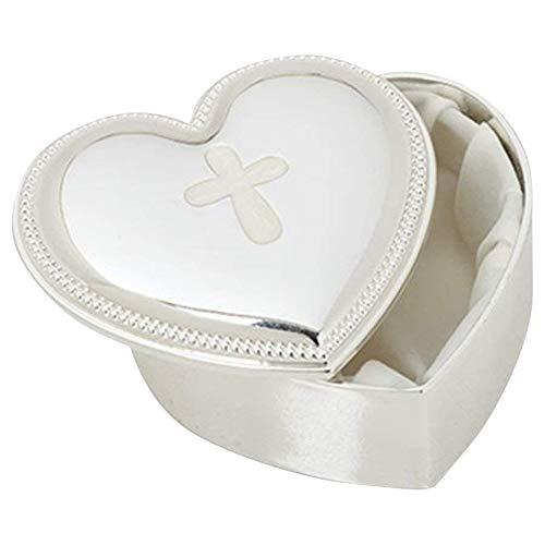 Petal Cross Heart Shape Beaded Accent Border 3 x 2.5 Zinc Alloy Keepsake Box