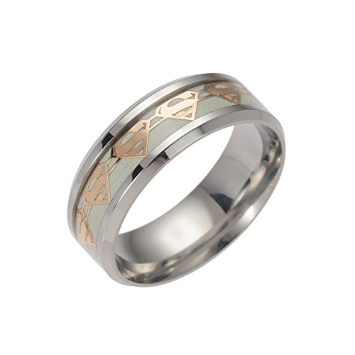 ERLUER Men's Stainless Steel Rings Luminous Glow in the Dark Superman Band Women Jewelry Ring (Gold, 12)]()