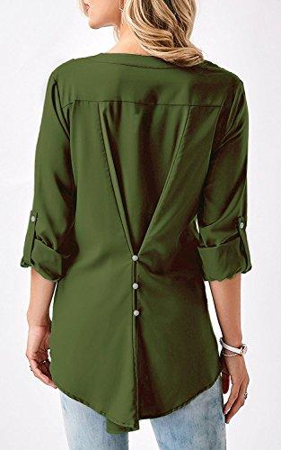 Fashion Vert Shirt Col Dentelle Femme V Chemisier 3 Manche Haut Moussline Chemise Chic 4 Tee Blouse Tops Aswinfon wqxSUT6Eq