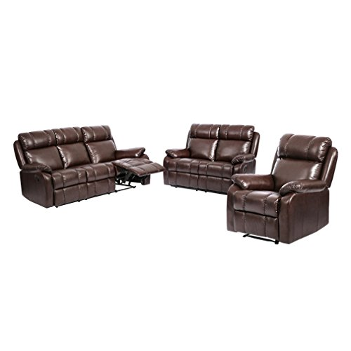 BestMassage Loveseat Chaise Reclining Couch Recliner Sofa Chair Leather Accent Chair (Leather Living Room Set)