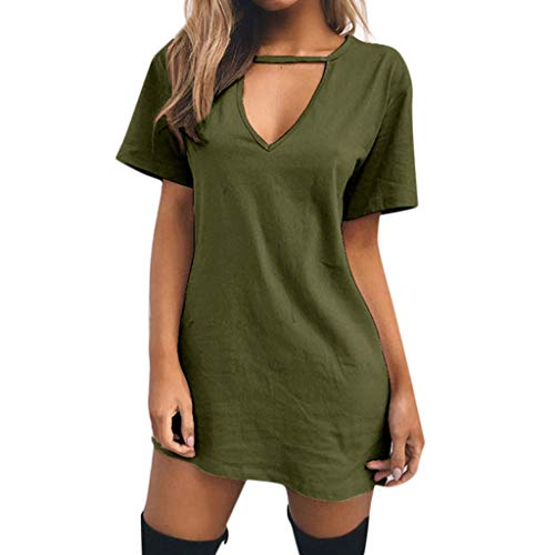 HYIRI Women's Choker V Neck Long Tops T-Shirt Vintage Sweet Cute Ladies Casual Party Mini Dress Blouse Army Green