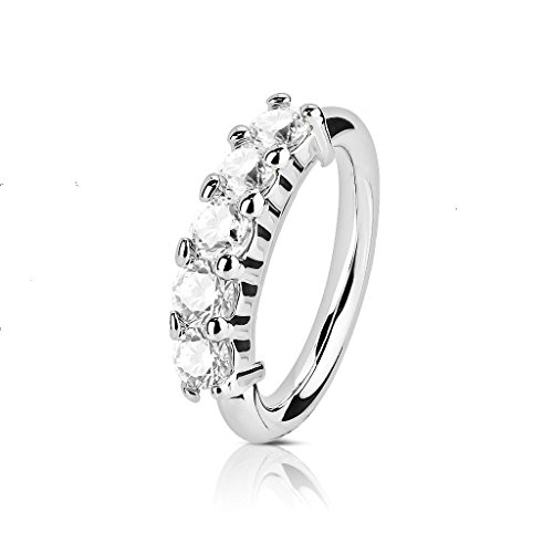 Small Thin Silver 5 Crystals Rhinestone Stainless Steel Nose Hoop Ring 18g(1mm) NiceShopping